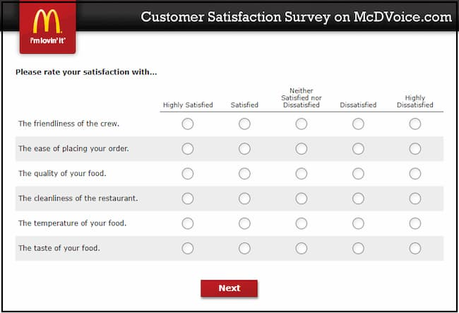 McDVoice Survey Questions
