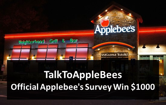 TalkToAppleBees - Official Applebee's Survey Win $1000